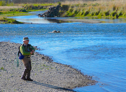 Wild Angler owner Casey Cravens fishing a favorite stretch on the lower Mataura River below a confluence with a tributary.